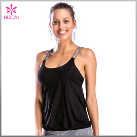 Fashion Design Gym Wear Loose Fit X Back Women Sports Tank Top