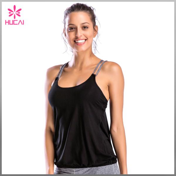 Fashion Design Gym Wear Loose Fit X Back Women Sports Tank Top