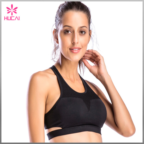 OEM Nylon Spandex Yoga Wear Sports Clothing Racerback Mesh Padded Gym Bra