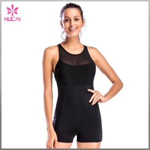Wholesale Nylon Spandex Women X Back Sleeveless Mesh Gym Jumpsuit