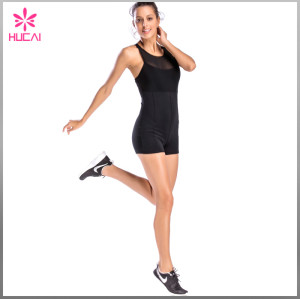 Wholesale Nylon Spandex Women X Back Sleeveless Mesh Gym Jumpsuit