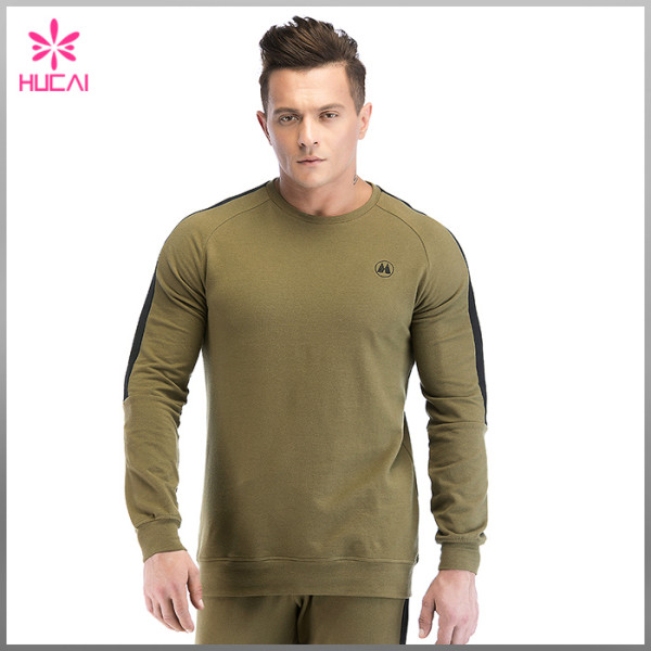 Wholesale Cotton Polyester Custom Crew Neck Men Blank Fleece Sweatshirt