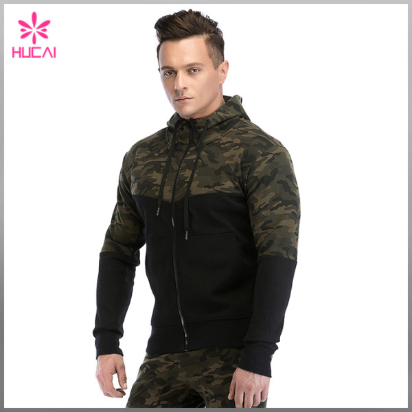 Wholesale Cotton Polyester Gym Clothing Mens Zip Up Camo Hoodie