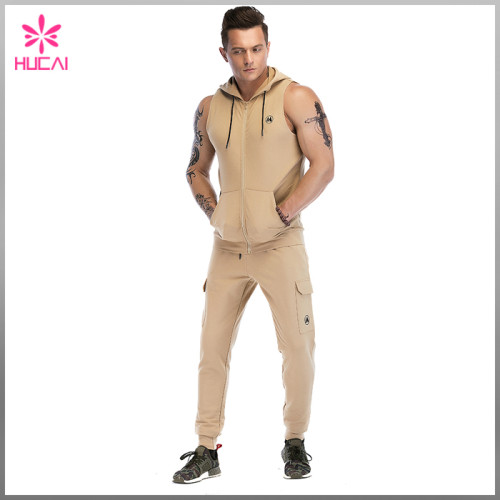 High Quality Zip Up Cotton Polyester Muscle Fit Plain Sleeveless Gym Hoodie