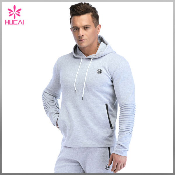 Custom Cotton Polyester Mens Fleece Pullover Sweatshirt With Pocket