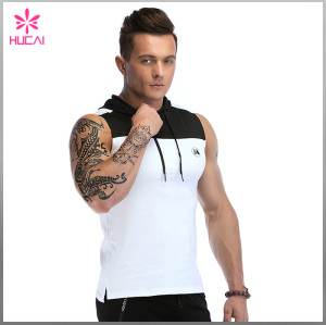 Custom Gym Clothing Mens Sleeveless Hooded Tank Top Bodybuilding