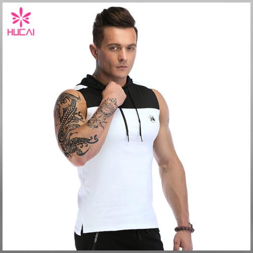 Custom Gym Clothing Mens Sleeveless Hooded Tank Top Bodybuilding