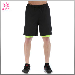 Custom 100%Polyester Gym Clothes Slim Fit Running Shorts With Lining For Men