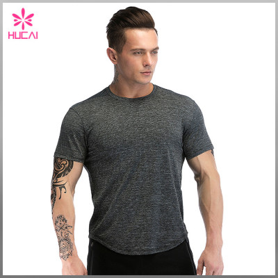 Custom Polyester Spandex Muscle And Fitness Clothing Gym Workout T Shirt Men