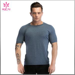 Wholesale Men Gym Apparel Short Sleeve Mesh Back Running Shirts Dry Fit