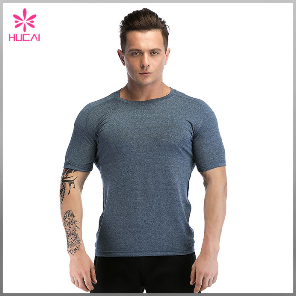 Wholesale Men Gym Apparel Short Sleeve Mesh Back Running Shirts Dry Fit