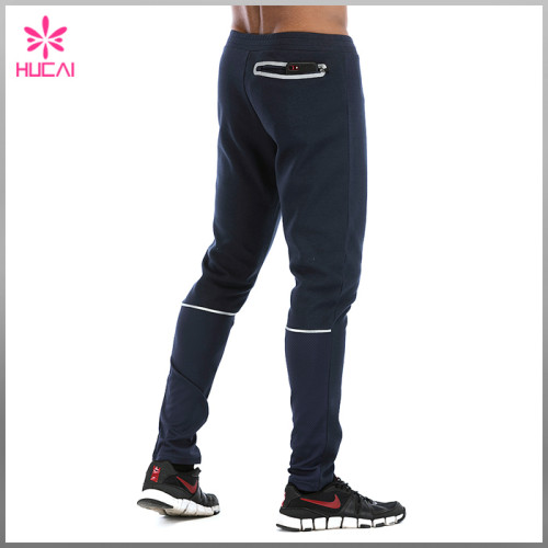 High Quality Cotton Polyester Sweatpants Custom Mens Jogger Pants With Zip Pocket