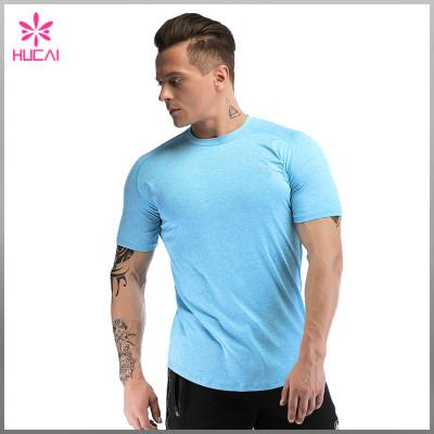 Custom Polyester Spandex Short Sleeve Dry Fit Training T Shirts Mens Gym