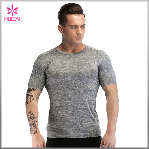 Custom Dry Fit Round Neck Mens Bodybuilding Training Shirts Gym