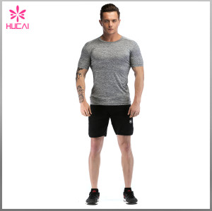 Custom Dry Fit Round Neck Mens Bodybuilding Training Shirts Gym