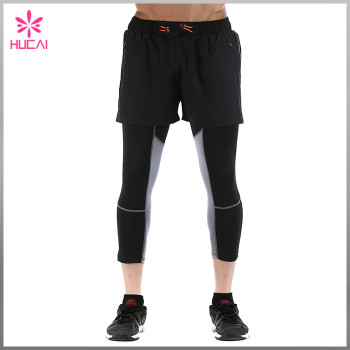 Wholesale 100% Polyester Mens Workout Shorts Outfit With Zipper Pocket