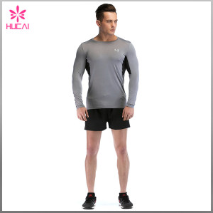 Custom Wholesale Compression Clothes Mens Long Sleeve Running Shirts For Summer