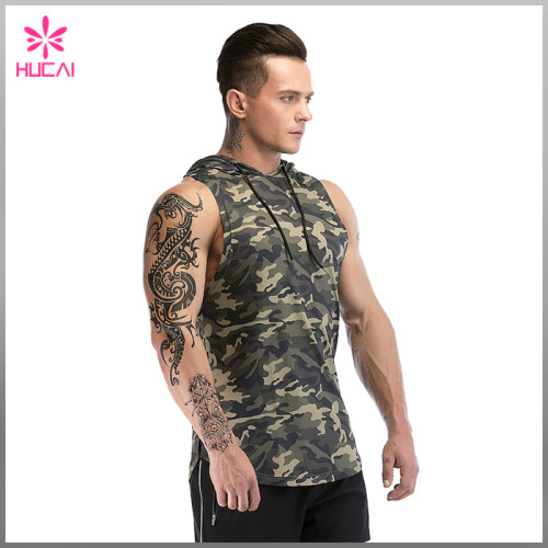 Wholesale Muscle Fit Training Clothes Sleeveless Hooded Camo Tank Top For Men Custom