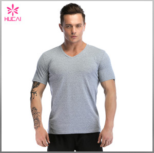 Custom Polyester Spandex Men V Neck Compression Shirts Blank Dry Fit