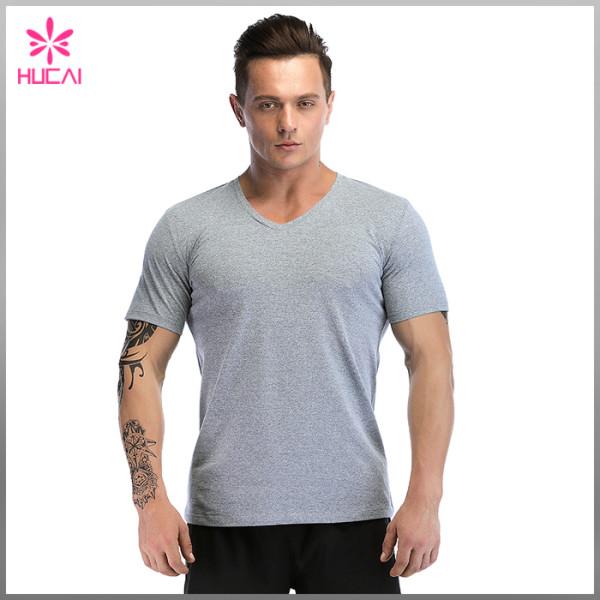Custom Polyester Spandex Men V Neck Compression Shirts Blank Dry Fit