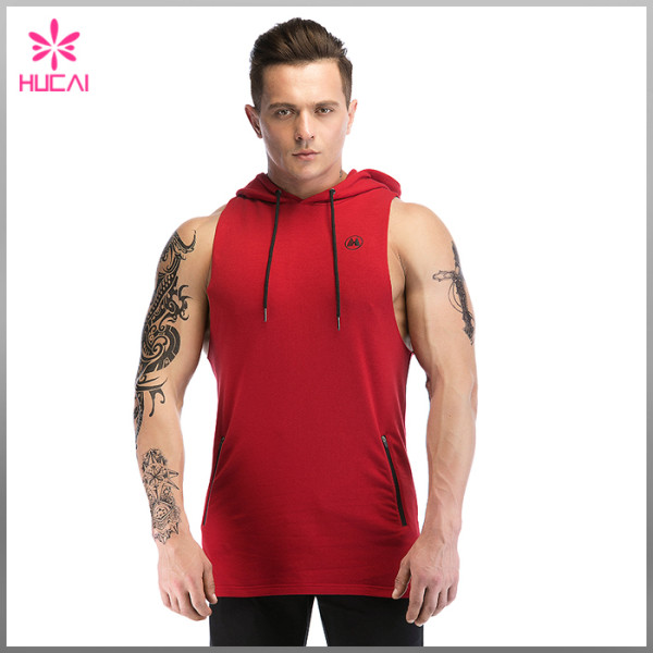 Custom Cotton Spandex Slim Fit Tank Top Mens Hooded Sleeveless T Shirt