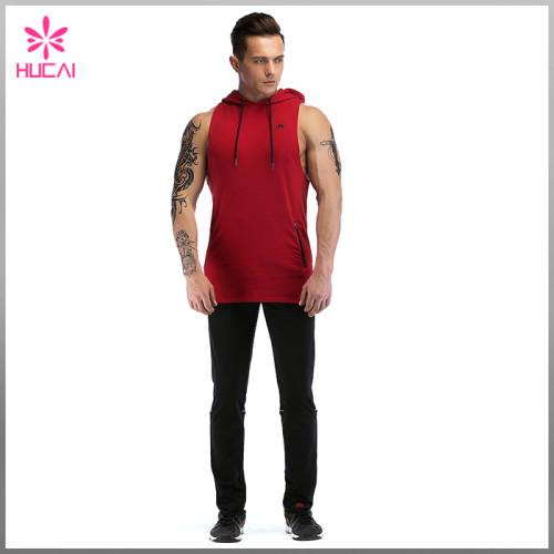 Custom Cotton Spandex Slim Fit Tank Top Mens Hooded Sleeveless T Shirt