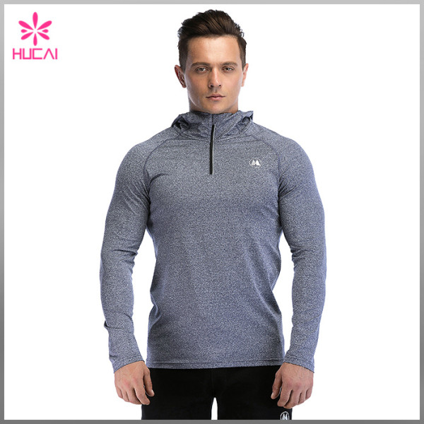 Wholesale Dry Fit 1/4 Zip Long Sleeve Hooded Running Top Mens
