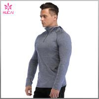 Wholesale Dry Fit 1/4 Zip Long Sleeve Hooded Running Top Mens