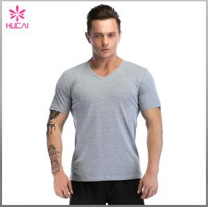 Custom Polyester Spandex Mens Bodybuilding V Neck Athletic T Shirts Cheap
