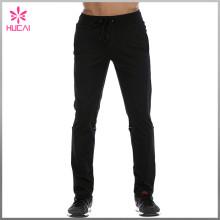 OEM Plain Track Pants Black Polyester Joggers Mens Wholesale