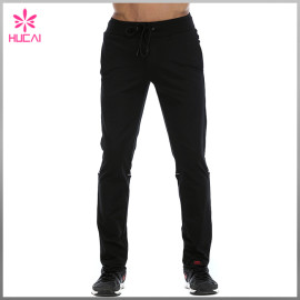 OEM Plain Track Pants Black Polyester Joggers Mens Wholesale