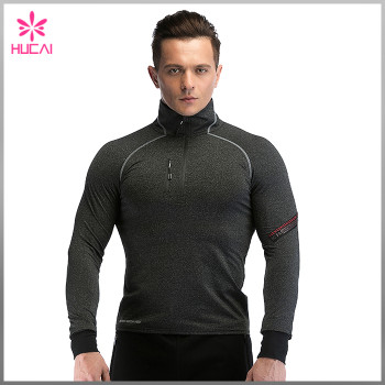 OEM Bodybuilding Sports Clothes Mens Custom 1/4 Zip Running Jacket Outfits