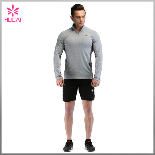 Wholesale Dry Fit Training Wear 1/4 Zip Tight Gym Jacket Mens
