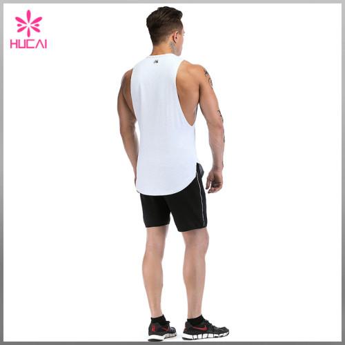 Custom Gym Clothing Round Bottom Mens Cut Off T Shirt Tank Top Gym