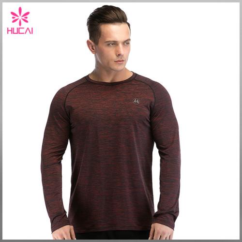 Custom Polyester Spandex Running T Shirt Dry Fit Mens Long Sleeve Training Tops