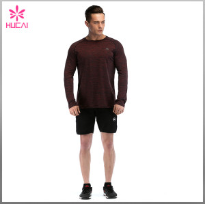 Custom Polyester Spandex Running T Shirt Dry Fit Mens Long Sleeve Training Tops