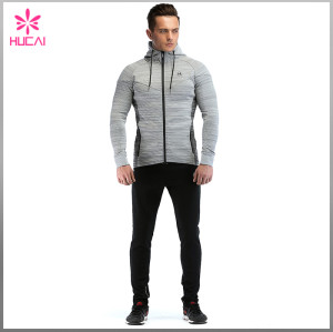 Custom Cotton Polyester Track Clothing Mens Fitness Zip Hoodie