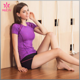 Wholesale Yoga T Shirt Mesh Insert Slim Fit Gym Wear For Women