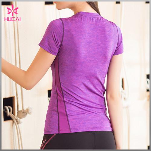 Wholesale Yoga T Shirt Mesh Insert Slim Fit Gym Wear For Women