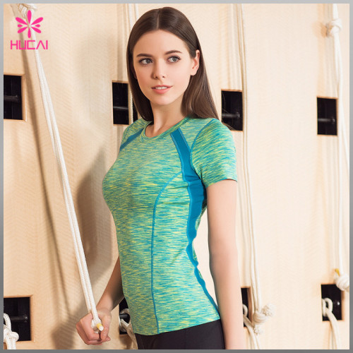 Custom Bodybuilding Clothing Women Dry Fit Space Dye Yoga T Shirt