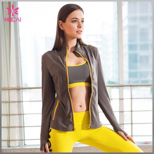 OEM Factory Zip Up Nylon Spandex Women Wholesale Yoga Jacket With Thumb Hole