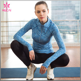Wholesale Space Dye Yoga Wear Half Zip Long Sleeve Gym Jackets Women
