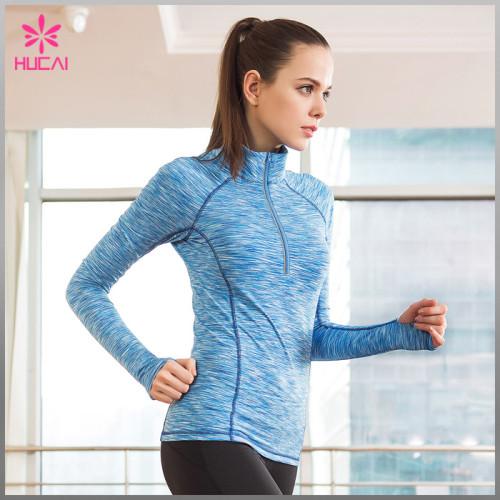 Wholesale Space Dye Yoga Wear Half Zip Long Sleeve Gym Jackets Women