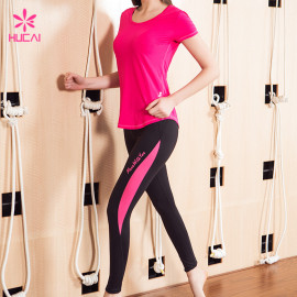 Wholesale Round Neck Curve Bottom Pink Mesh Back Women Fitness T Shirt