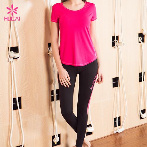 Wholesale Round Neck Curve Bottom Pink Mesh Back Women Fitness T Shirt