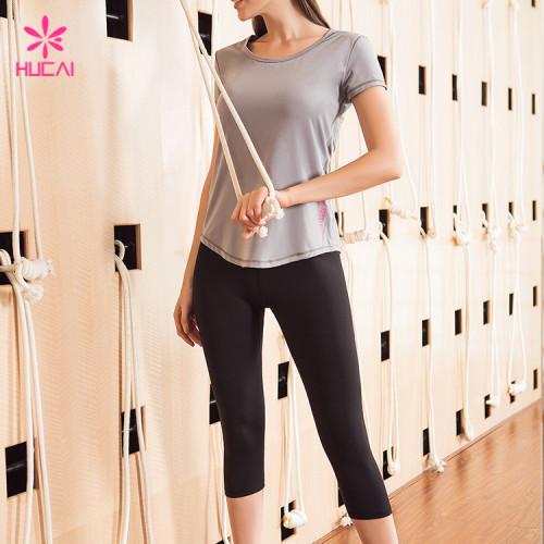Wholesale Gym Tee Mesh Insert Slim Fit Short Sleeve Women Workout Shirt