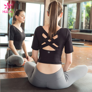 Wholesale Nylon Spandex Slim Fit Gym T Shirt Short Sleeve Women Sexy Crop Top