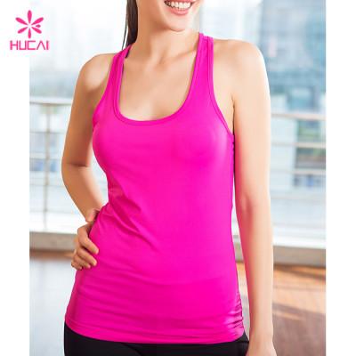Wholesale Slim Fit Tanks Gym Vest Women Racer Back Fitness Top