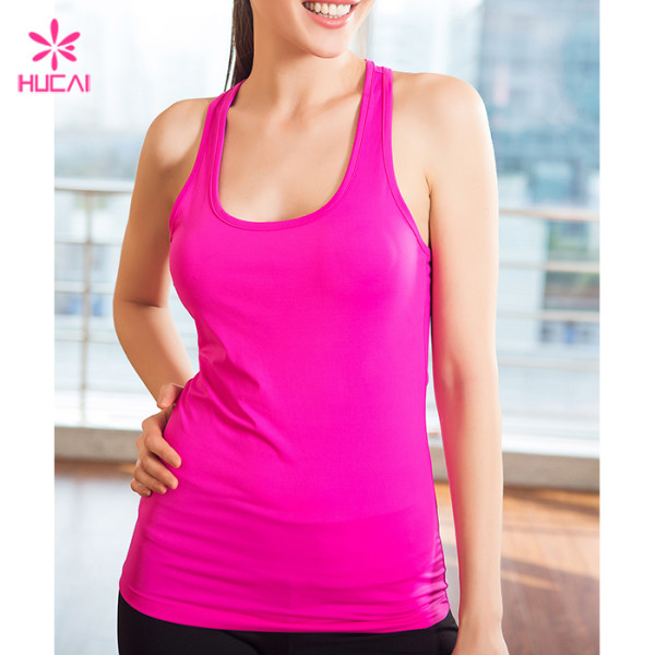 Wholesale Slim Fit Tanks Gym Vest Women Racer Back Fitness Top