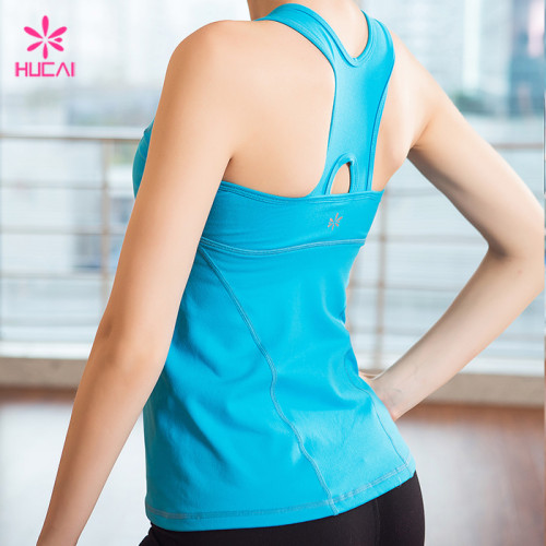 Wholesale Nylon Spandex Yoga Wear Women Padded Tank Top With Built In Bra